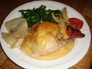 roast-chicken-with-grits